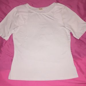 White Partly Meshed Top Size M